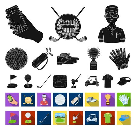 Golf and attributes black,flat icons in set collection for design.Golf Club and equipment bitmap symbol stock web illustration.