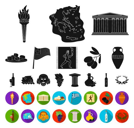 Country Greece black,flat icons in set collection for design.Greece and landmark bitmap symbol stock web illustration.