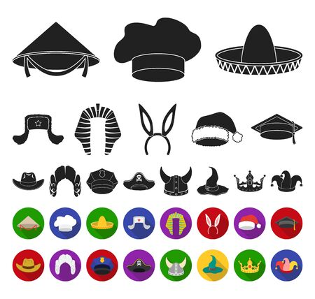 Different kinds of hats black,flat icons in set collection for design.Headdress bitmap symbol stock web illustration. Stock Photo