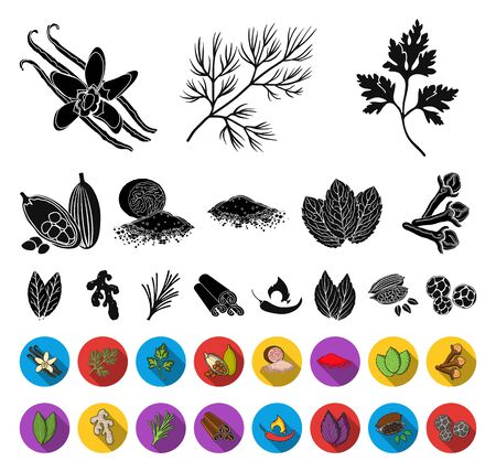 Herb and spices black,flat icons in set collection for design.Different kinds of seasonings bitmap symbol stock web illustration. Stockfoto