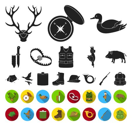 Hunting and trophy black,flat icons in set collection for design. Hunting and equipment bitmap symbol stock web illustration.