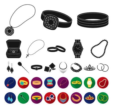 Jewelry and accessories black,flat icons in set collection for design.Decoration bitmap symbol stock web illustration. Standard-Bild - 129130491