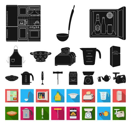 Kitchen equipment black,flat icons in set collection for design. Kitchen and accessories bitmap symbol stock web illustration.