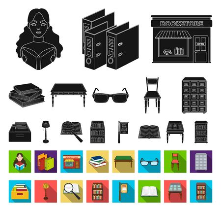 Library and bookstore black,flat icons in set collection for design. Books and furnishings bitmap symbol stock web illustration. Stockfoto