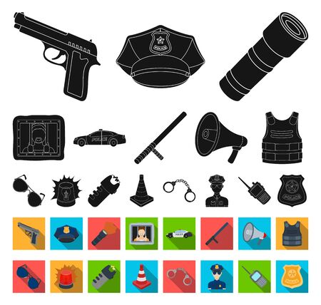 Police, Department black,flat icons in set collection for design.Detective and accessories bitmap symbol stock web illustration.