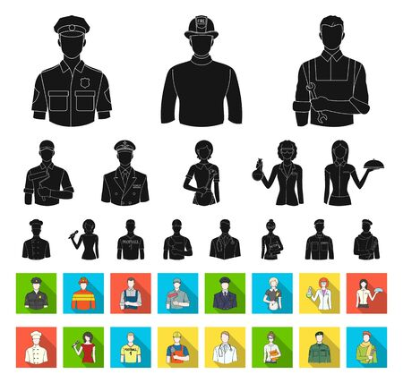 People of different professions black,flat icons in set collection for design. Worker and specialist bitmap symbol stock web illustration. Stockfoto