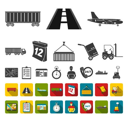 Logistics service black,flat icons in set collection for design. Logistics and equipment bitmap symbol stock web illustration. Stock Photo
