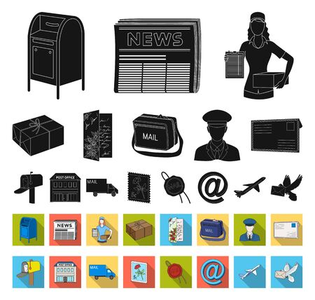 Mail and postman black,flat icons in set collection for design. Mail and equipment bitmap symbol stock web illustration.