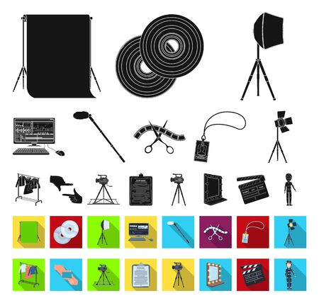 Making a movie black,flat icons in set collection for design. Attributes and Equipment bitmap symbol stock web illustration.