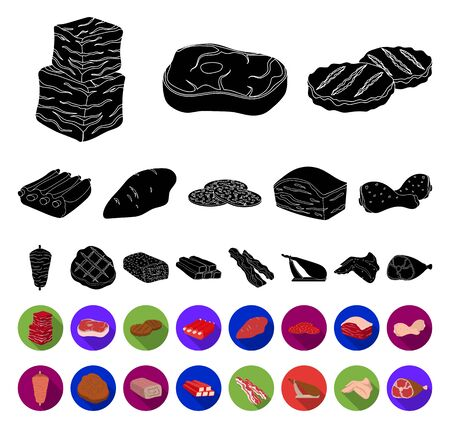 Different meat black,flat icons in set collection for design. Meat product bitmap symbol stock web illustration.