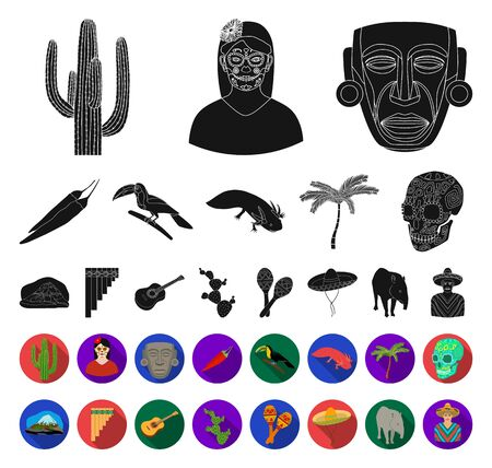 Country Mexico black,flat icons in set collection for design. Mexico and landmark bitmap symbol stock web illustration. Stockfoto - 129130616