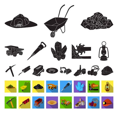 Mining industry black,flat icons in set collection for design. Equipment and tools bitmap symbol stock web illustration.