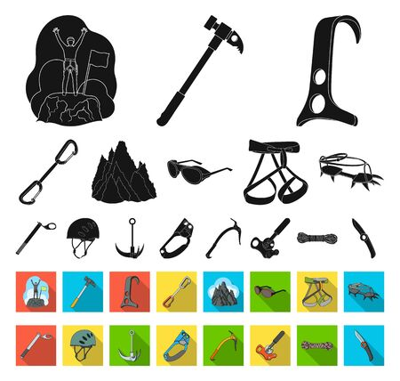 Mountaineering and climbing black,flat icons in set collection for design. Equipment and accessories bitmap symbol stock web illustration.
