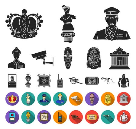 Museum and gallery black,flat icons in set collection for design. Storage and exhibition of showpiece bitmap symbol stock web illustration.
