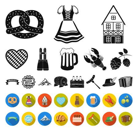 Oktober festival in Munich black,flat icons in set collection for design.Tradition and fun bitmap symbol stock web illustration.