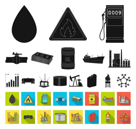 Oil industry black,flat icons in set collection for design. Equipment and oil production bitmap symbol stock web illustration. Foto de archivo - 129130689