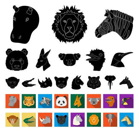 Wild animal black,flat icons in set collection for design. Mammal and bird bitmap symbol stock web illustration.