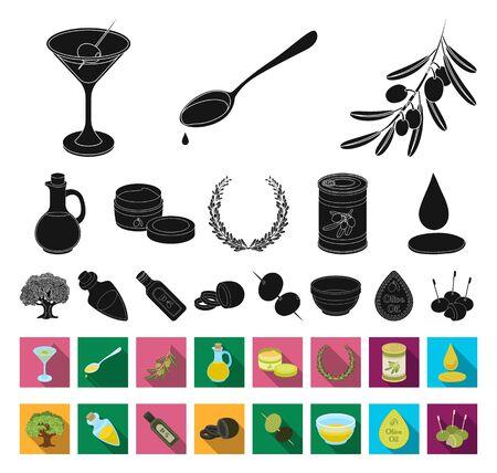 Olive, food black,flat icons in set collection for design. Olive oil, seasoning bitmap symbol stock web illustration.