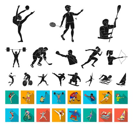 Different kinds of sports black,flat icons in set collection for design. Athlete, competitions bitmap symbol stock web illustration.