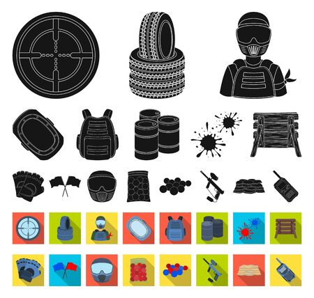 Paintball, team game black,flat icons in set collection for design. Equipment and outfit bitmap symbol stock web illustration.
