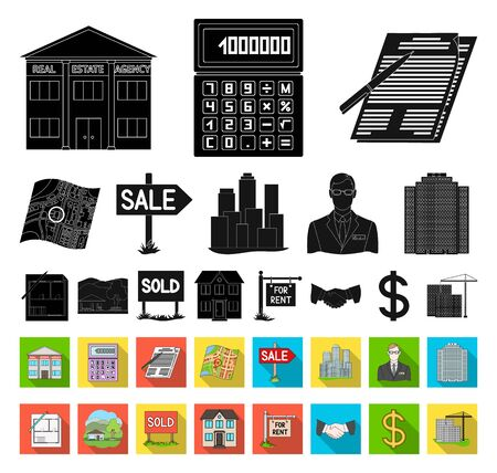 Realtor, agency black,flat icons in set collection for design. Buying and selling real estate bitmap symbol stock web illustration. Фото со стока
