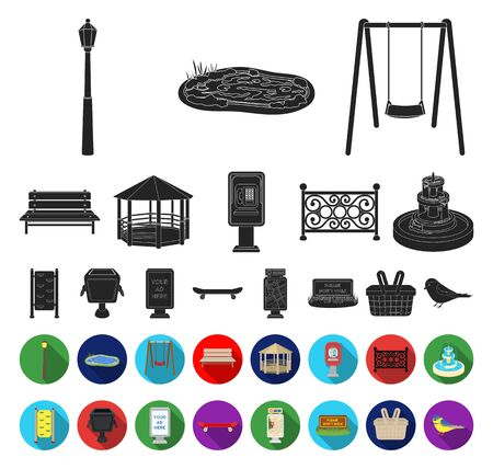 Park, equipment black,flat icons in set collection for design. Walking and rest bitmap symbol stock web illustration. 写真素材 - 129130721