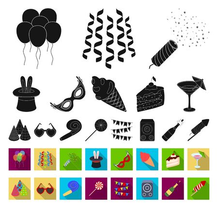 Party, entertainment black,flat icons in set collection for design. Celebration and treat bitmap symbol stock web illustration. Zdjęcie Seryjne