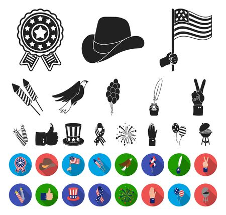 Day of Patriot, holiday black,flat icons in set collection for design. American tradition bitmap symbol stock web illustration. Reklamní fotografie
