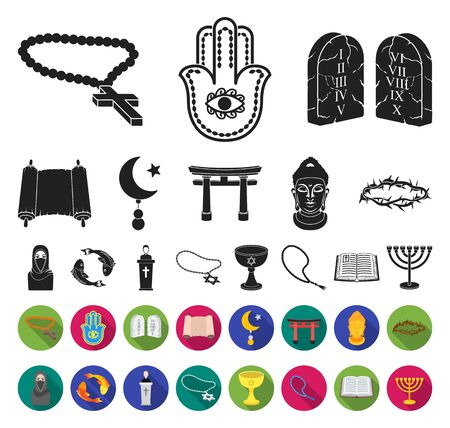 Religion and belief black,flat icons in set collection for design. Accessories, prayer bitmap symbol stock web illustration. Фото со стока
