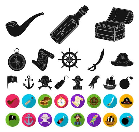 Pirate, sea robber black,flat icons in set collection for design. Treasures, attributes bitmap symbol stock web illustration.