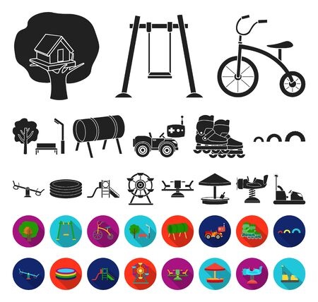 Playground, entertainment black,flat icons in set collection for design. Attraction and equipment bitmap symbol stock web illustration.