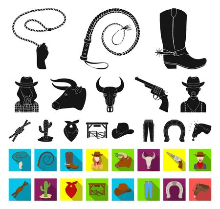 Rodeo, competition black,flat icons in set collection for design. Cowboy and equipment bitmap symbol stock web illustration. Фото со стока