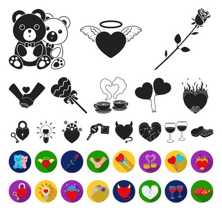 Romantic relationship black,flat icons in set collection for design. Love and friendship bitmap symbol stock web illustration. Stock fotó