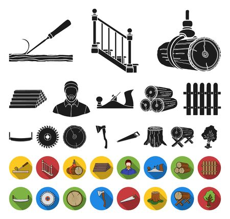 Sawmill and Timber black,flat icons in set collection for design. Hardware and Tools bitmap symbol stock web illustration. Zdjęcie Seryjne