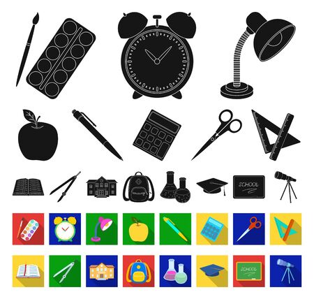 School and education black,flat icons in set collection for design.College, equipment and accessories bitmap symbol stock web illustration.