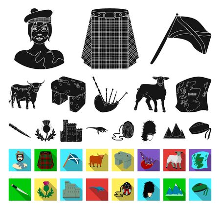 Country Scotland black,flat icons in set collection for design. Sightseeing, culture and tradition bitmap symbol stock web illustration.