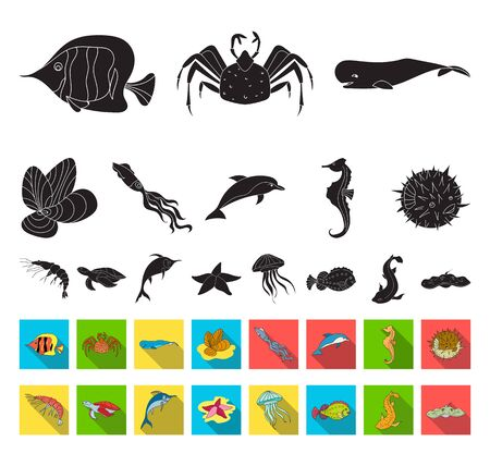 A variety of marine animals black,flat icons in set collection for design. Fish and shellfish bitmap symbol stock web illustration.