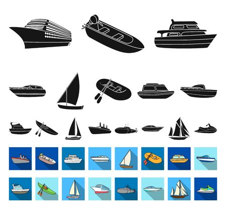 Water and sea transport black,flat icons in set collection for design. A variety of boats and ships bitmap symbol stock web illustration.