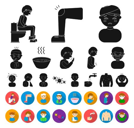 The sick man black,flat icons in set collection for design. Illness and treatment bitmap symbol stock web illustration.