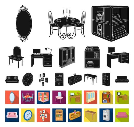 Furniture and interior black,flat icons in set collection for design. Home furnishings bitmap isometric symbol stock web illustration.