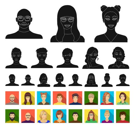 Avatar and face black,flat icons in set collection for design. A persons appearance bitmap symbol stock web illustration. Imagens