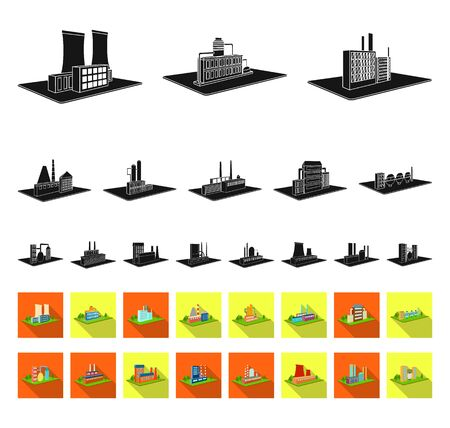 Factory and plant black,flat icons in set collection for design. Production and enterprise bitmap isometric symbol stock web illustration.