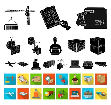 Logistics and delivery black,flat icons in set collection for design. Transport and equipment isometric bitmap symbol stock web illustration.