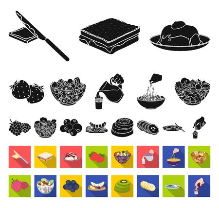 Dessert fragrant black,flat icons in set collection for design. Food and sweetness bitmap symbol stock web illustration.