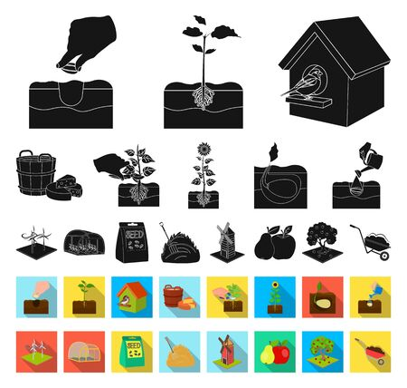 Farm and agriculture black,flat icons in set collection for design. Garden and plants isometric bitmap symbol stock web illustration. Zdjęcie Seryjne - 129130943
