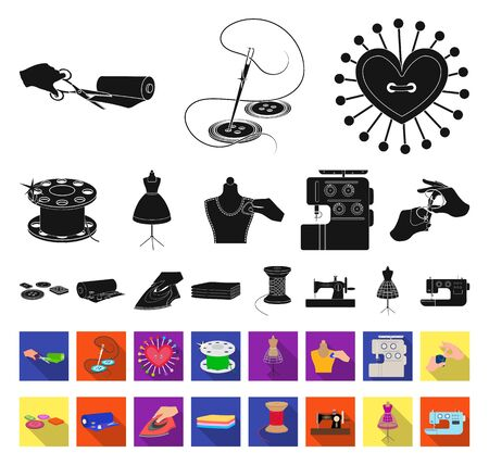 Atelier and equipment black,flat icons in set collection for design. Sewing of outer clothing bitmap symbol stock web illustration.