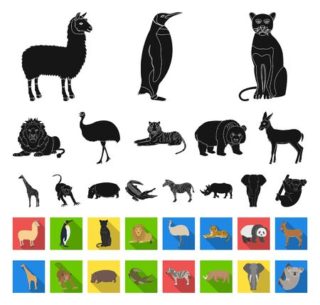 Different animals black,flat icons in set collection for design. Bird, predator and herbivore bitmap symbol stock web illustration.