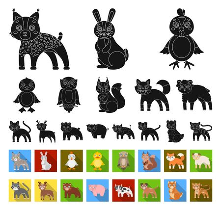 Toy animals black,flat icons in set collection for design. Bird, predator and herbivore bitmap symbol stock web illustration.