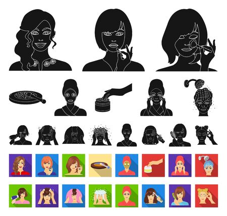 Care of hair and face black,flat icons in set collection for design. Perfumes and makeup bitmap symbol stock web illustration. Stock Illustration - 129130974