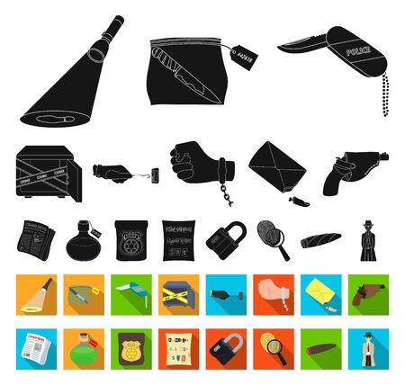 Detective agency black,flat icons in set collection for design. Crime and investigation bitmap symbol stock web illustration. Imagens